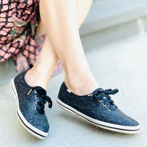 KEDS Kate spade glitter dipped satin lace sneakers